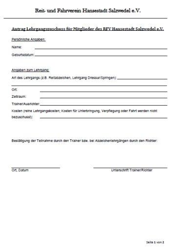 Antrag Lehrgangszuschuss für Mitglieder